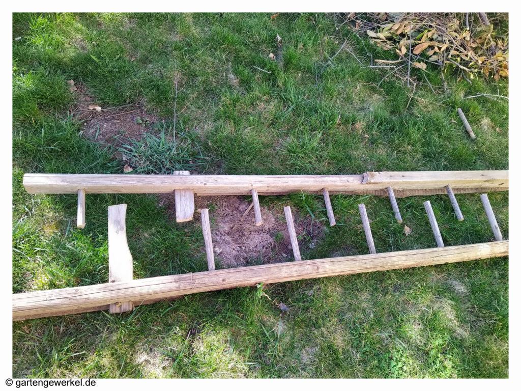 Holzleiter für Beetumrandung Permakultur Beet